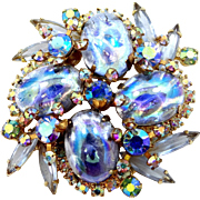 Juliana D & E Oval Blue Opals Glass Pin