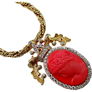 Nettie Rosenstein Faux Coral Cameo Necklace