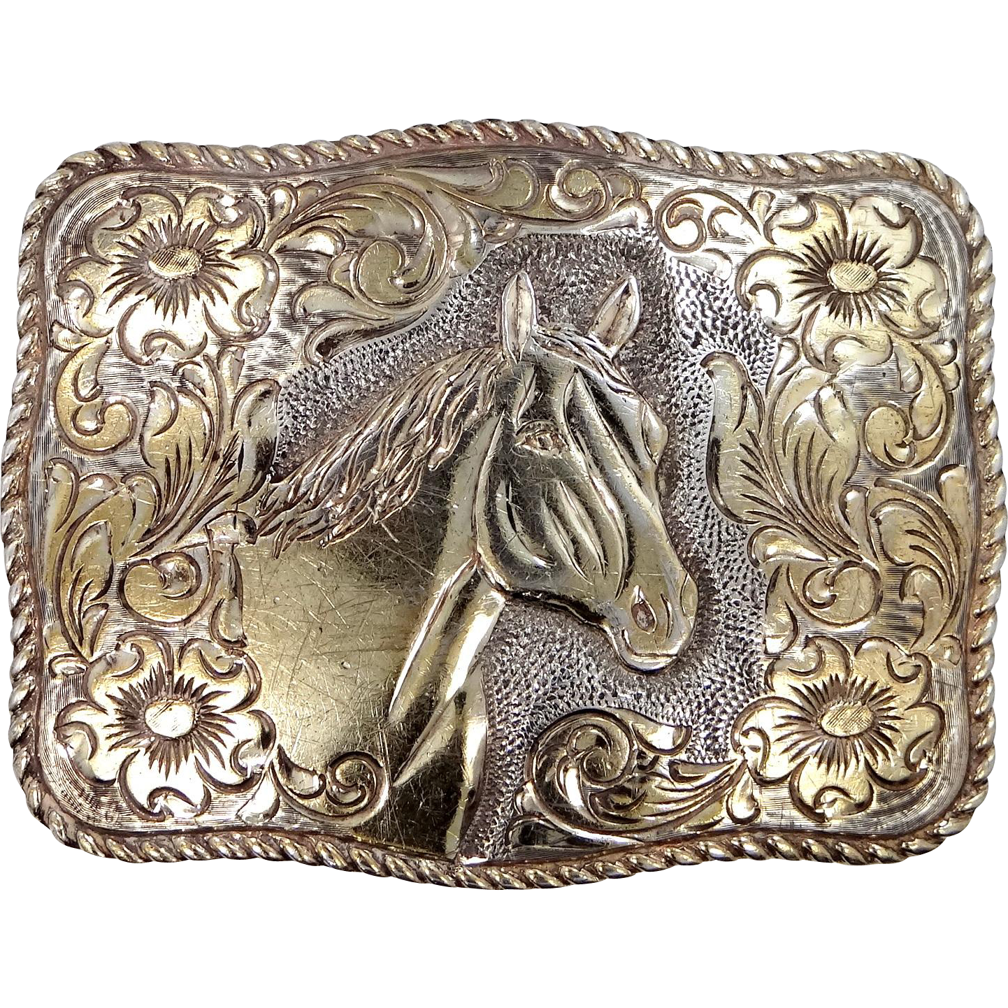 Crumrine San Carlos 22k Gold on Sterling Buckle w/Horse and Santa Ana Hallmark