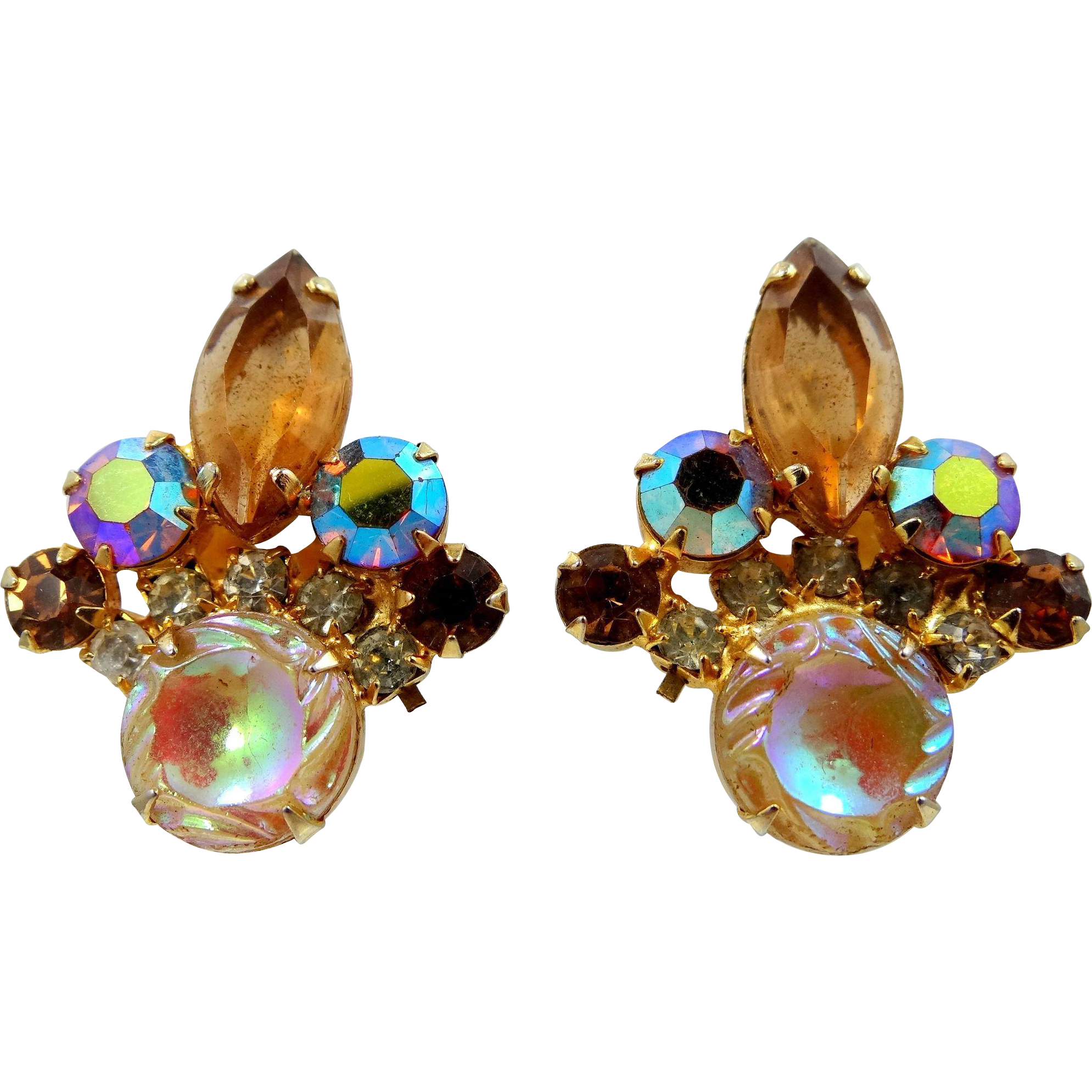 Juliana Scooped Out A/B Coated Topaz Glass Earrings