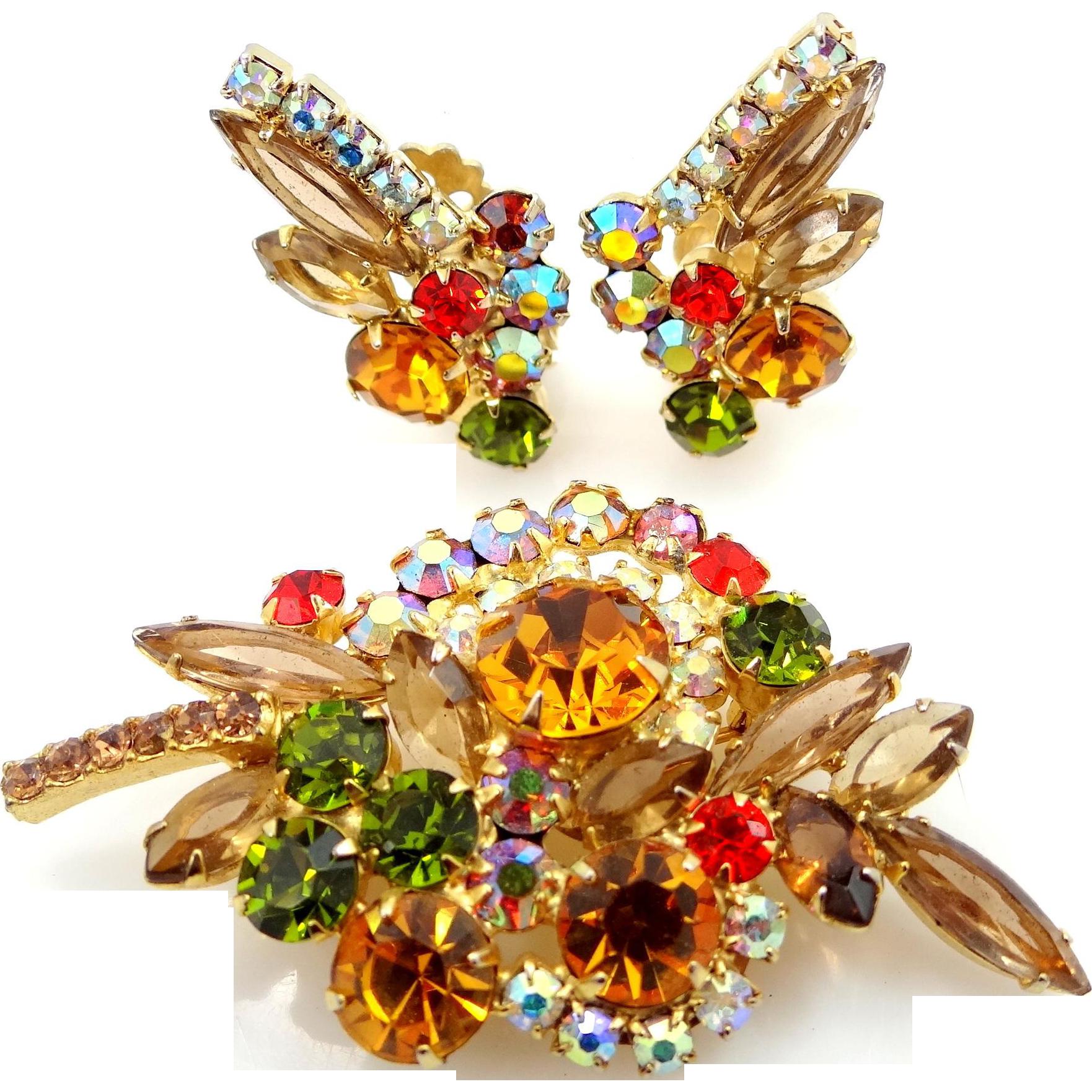 Juliana Autumn Colors Brooch & Matching Earrings : Mur ...