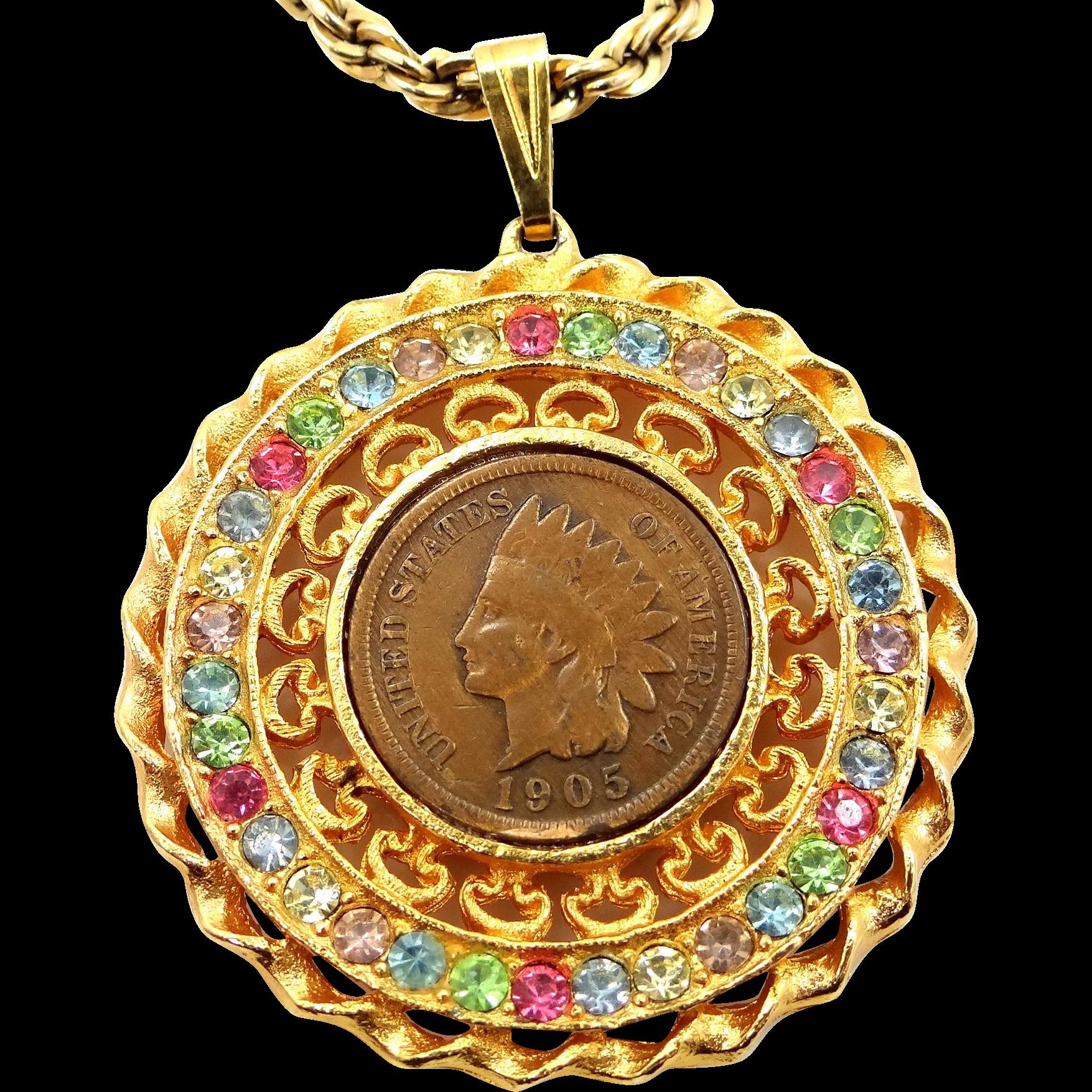 Juliana Multi-Color Rhinestone Penny Necklace