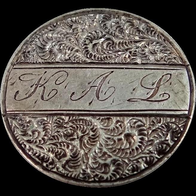 Victorian U.S. Dime Love Token Collar Button