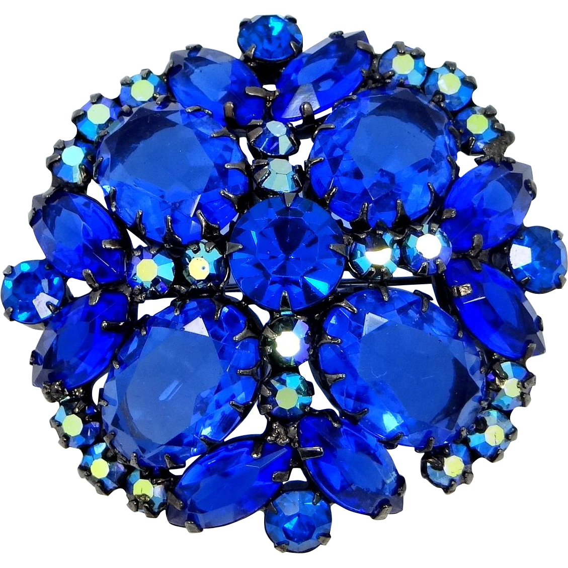 Juliana D & E Multi Pronged Large Cobalt Blue Glass Stones Pin