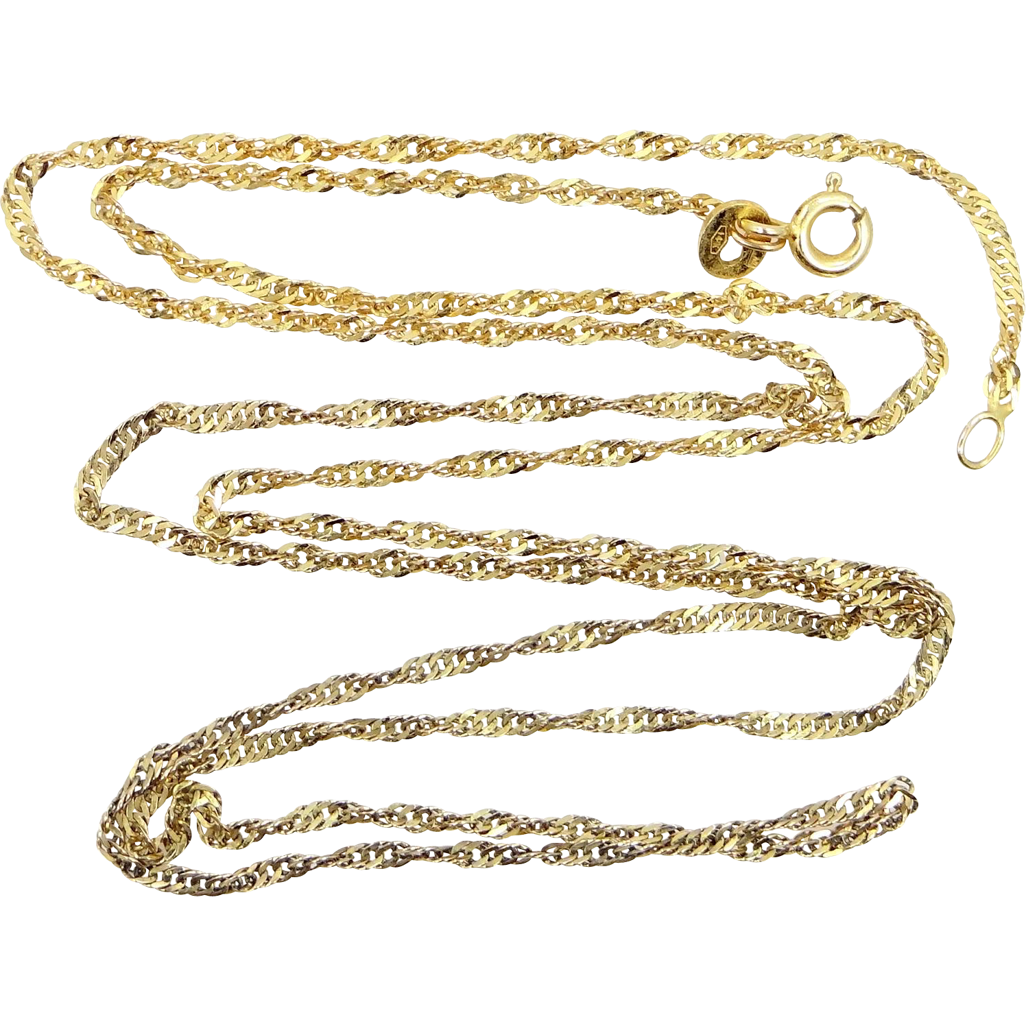"14k Gold Diamond Cut Twisted Rop 25"" Long Necklace"