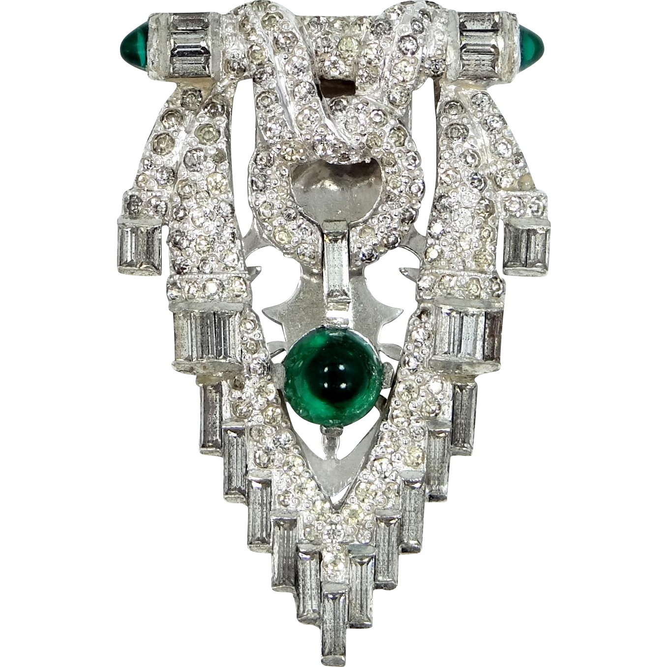 Art Deco Emerald and Clear Glass Dress Clip with Rhodium Plating