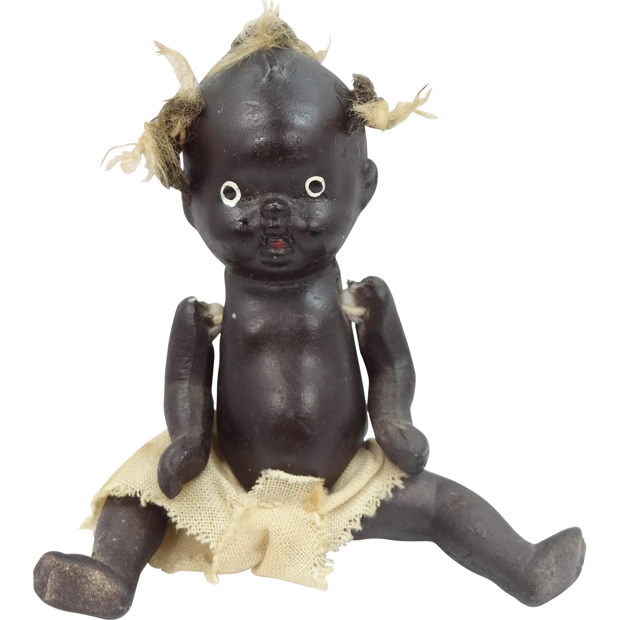 "4"" Five Piece Bisque Black Baby Doll with Pigtail Tufts"