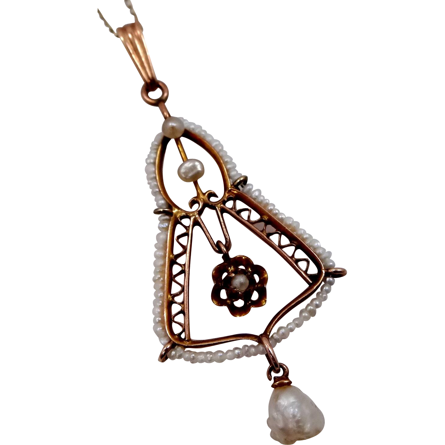 Victorian 14k Rose Gold and Seed Pearls Lavaliere