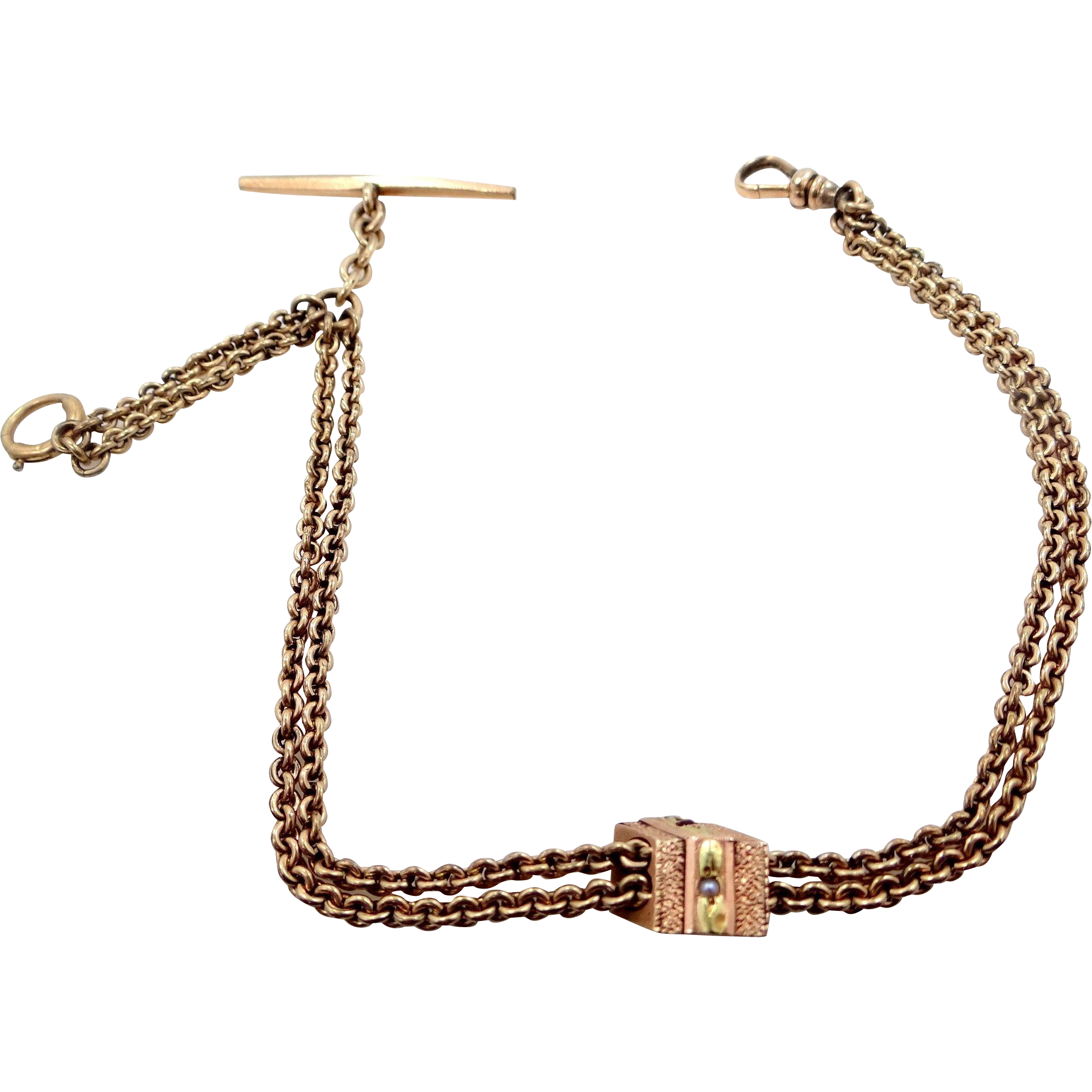 Victorian 10k Rose Gold and Green Gold Seed Pearl and Ruby Slide on Gold Fld. Watch Chain