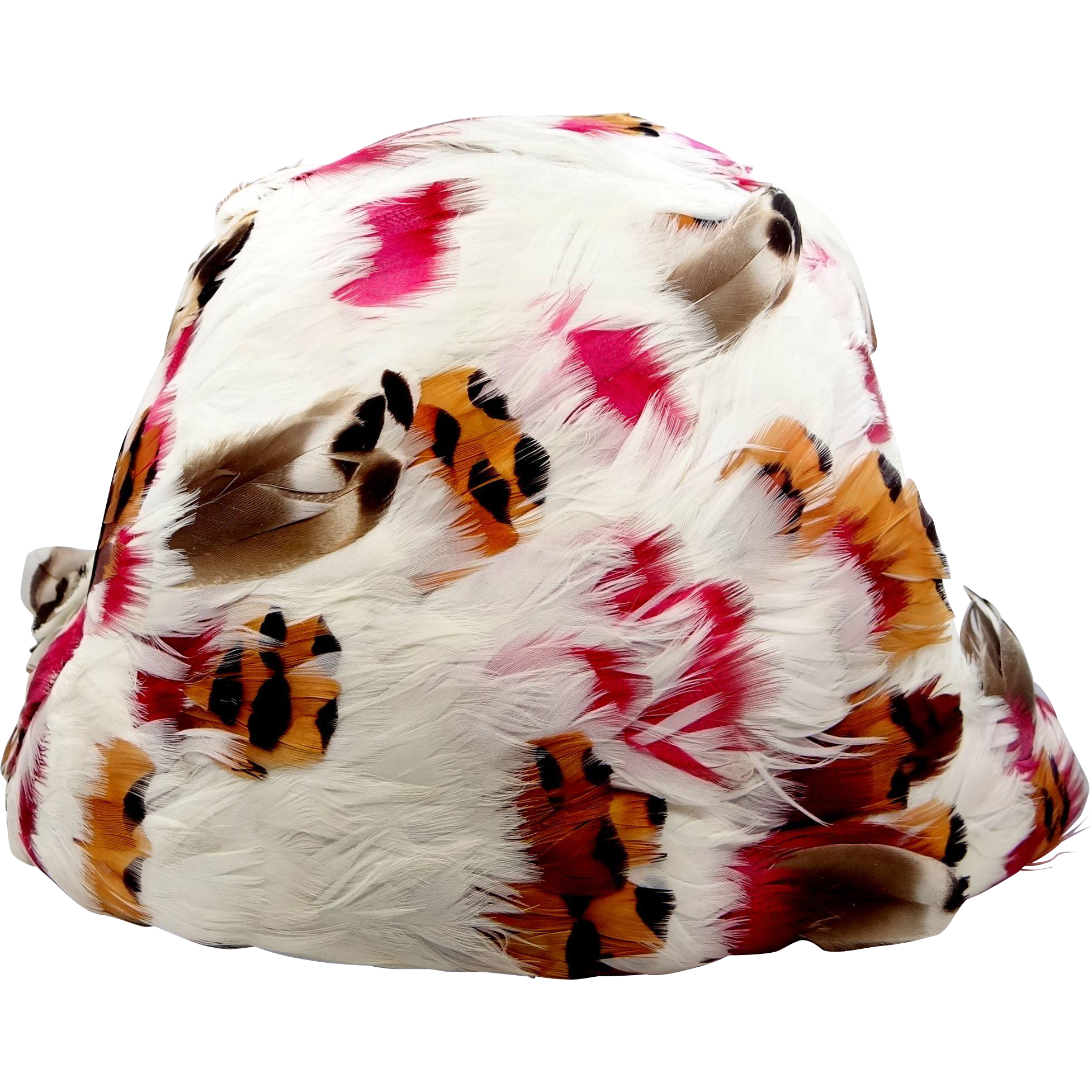 Vintage SCHIAPARELLI Multi Color Feather Hat with Italy Tag