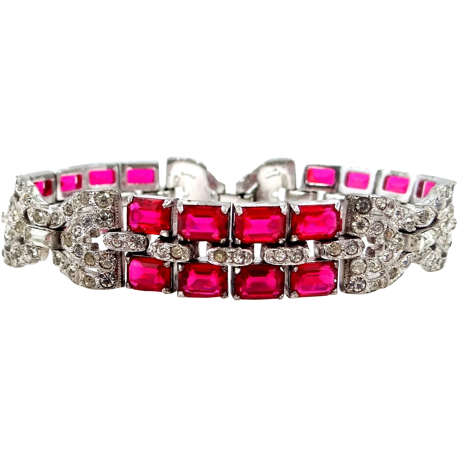 kTf Trifari 'Alfred Philippe' Pave and Emerald Cut Ruby Glass Bracelet