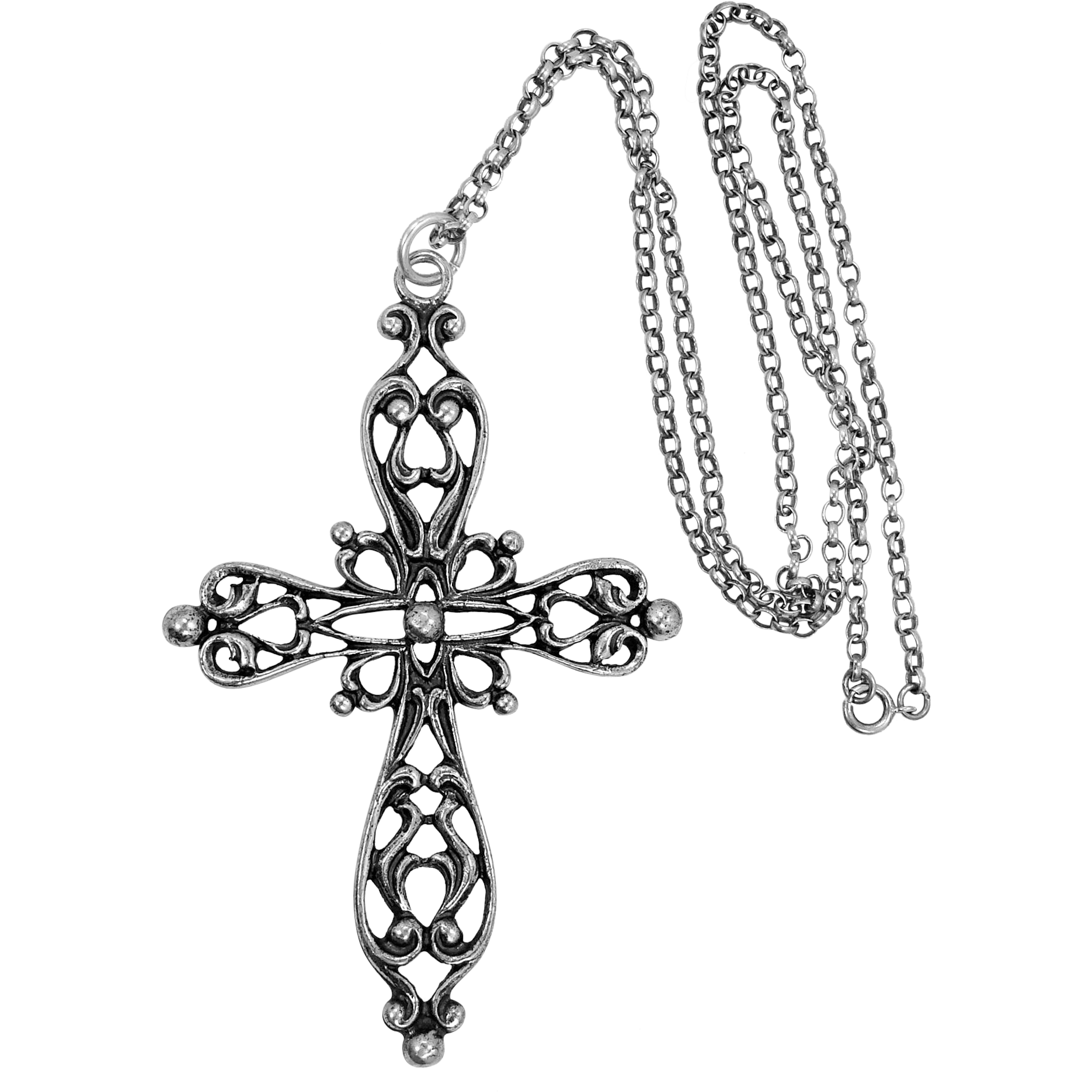 Large DANECRAFT Sterling Silver Filigree Cross Necklace