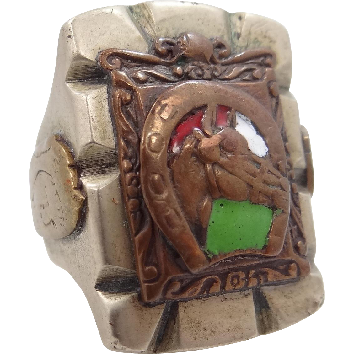 Old Mexico Horse Head And Horse Shoe Enamel Biker Ring