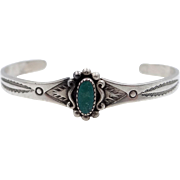 Cute Southwestern Sterling and Turquoise Cuff Bracelet