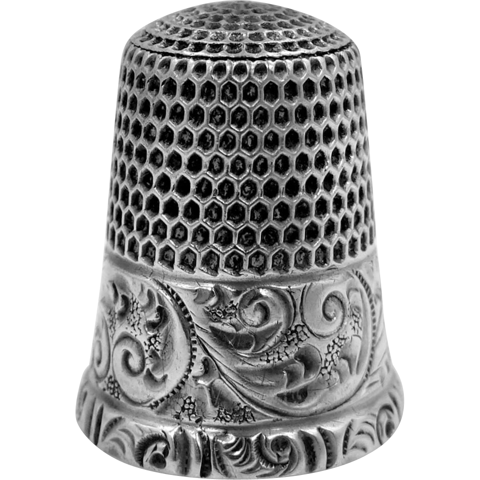 Simons Sterling Silver Size 9 Thimble With Repousse