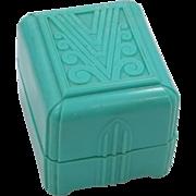 "Blue Art Deco Ring Box ""A"""