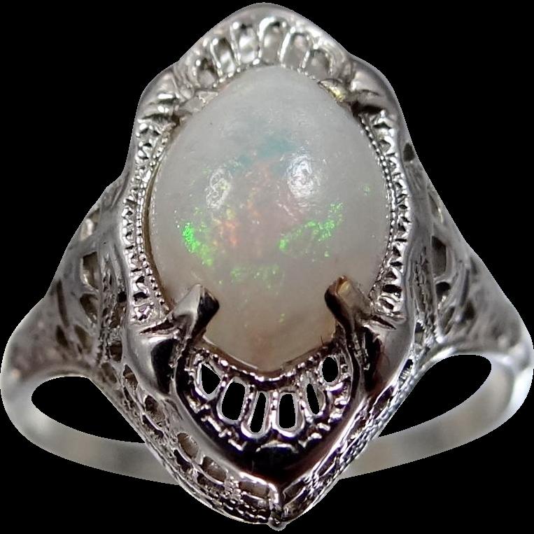14k White Gold Filigree Art Deco Opal Ring Size 8 3/4