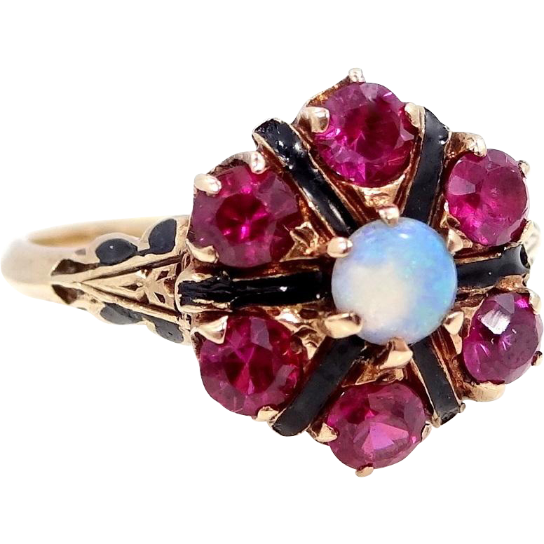 Victorian 10k Gold Natural Opal and Synthetic Rubies Ring