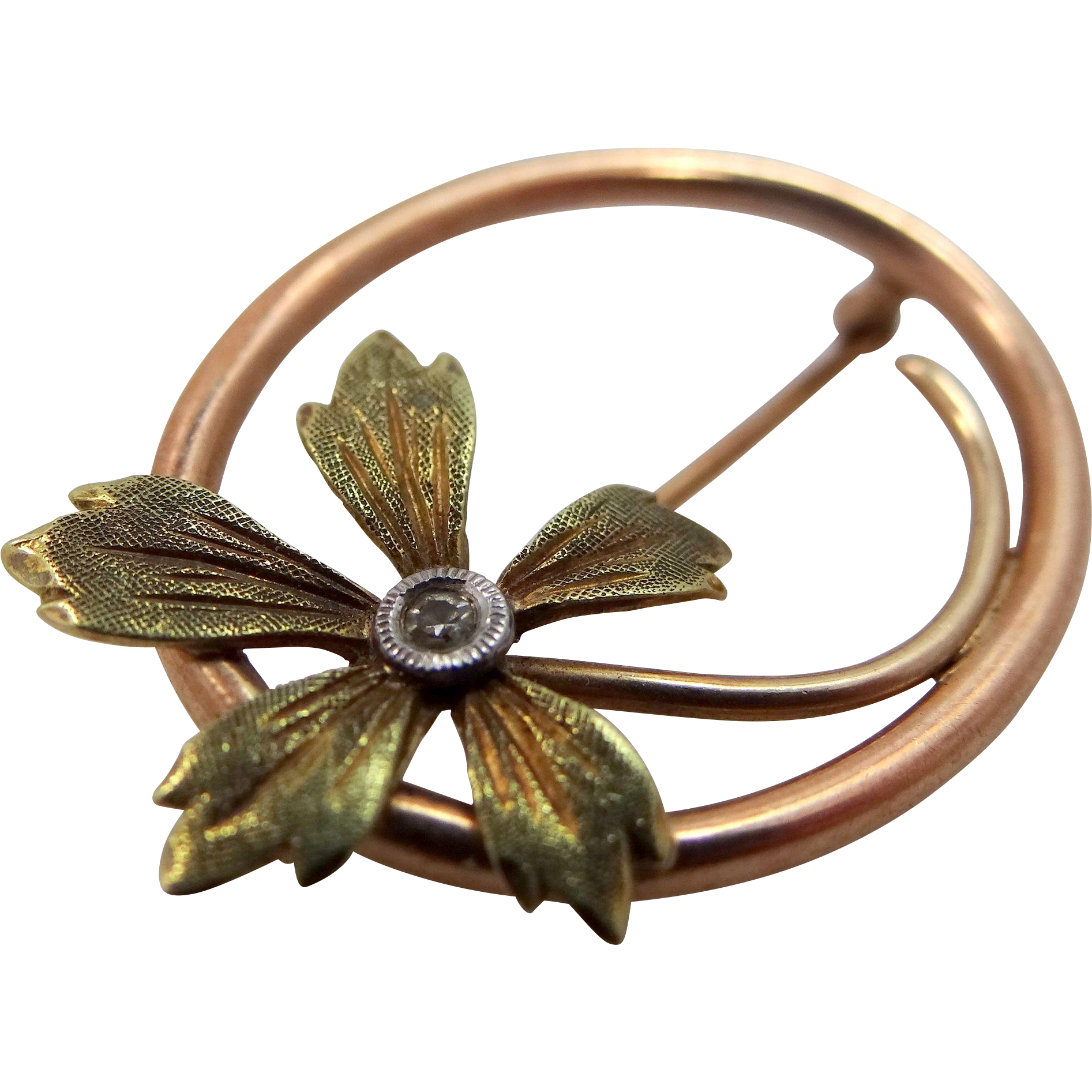 Victorian 10k Green Gold, Rose Gold and Diamond Pin