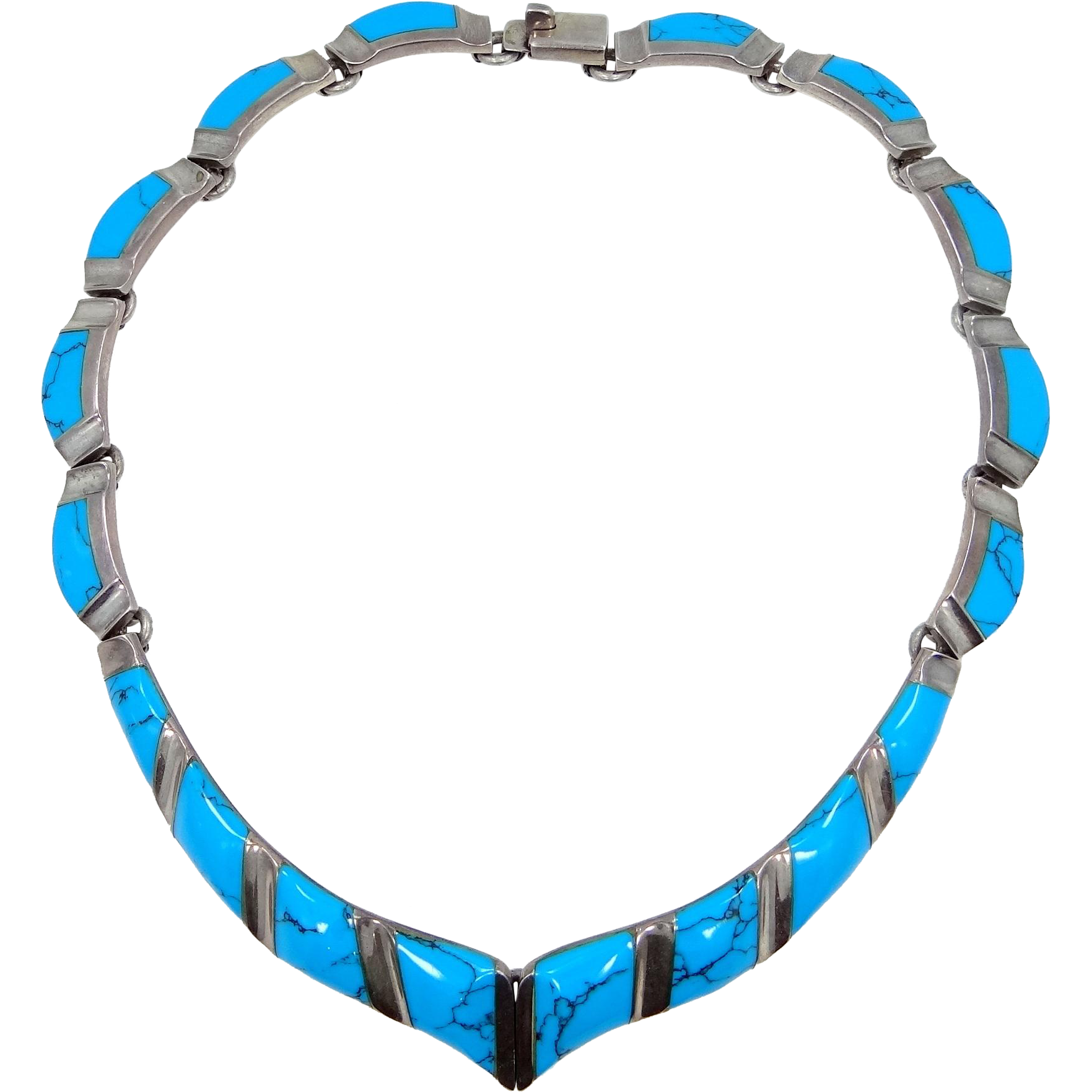 Extraordinary 950 Sterling Silver and Turquoise Necklace