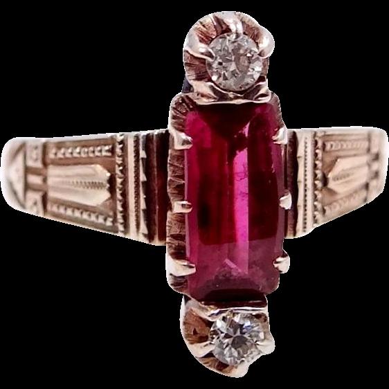 10k Rose Gold Victorian Diamond Ring