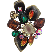 Juliana Gorgeous Abstract Rhinestone Pin with Fluted Petals