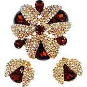 Extraordinary Ladybugs Brooch and Matching Earrings