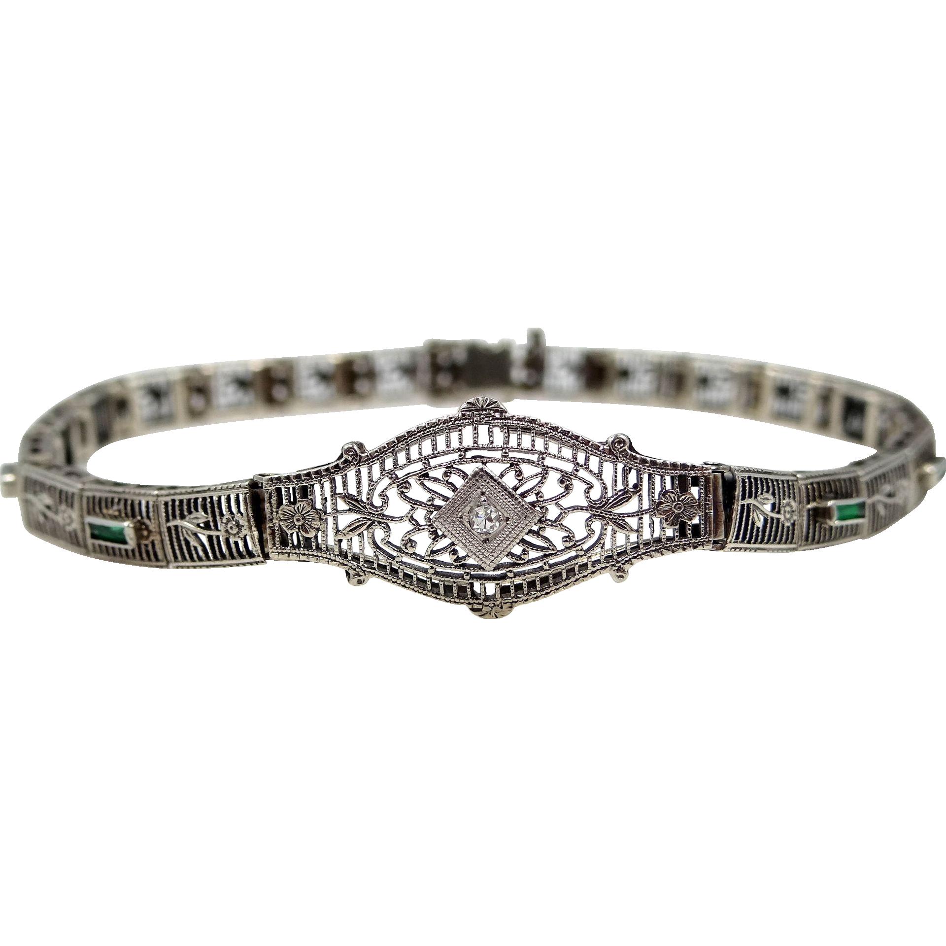Art Deco 14k White Gold Filigree Diamond Bracelet