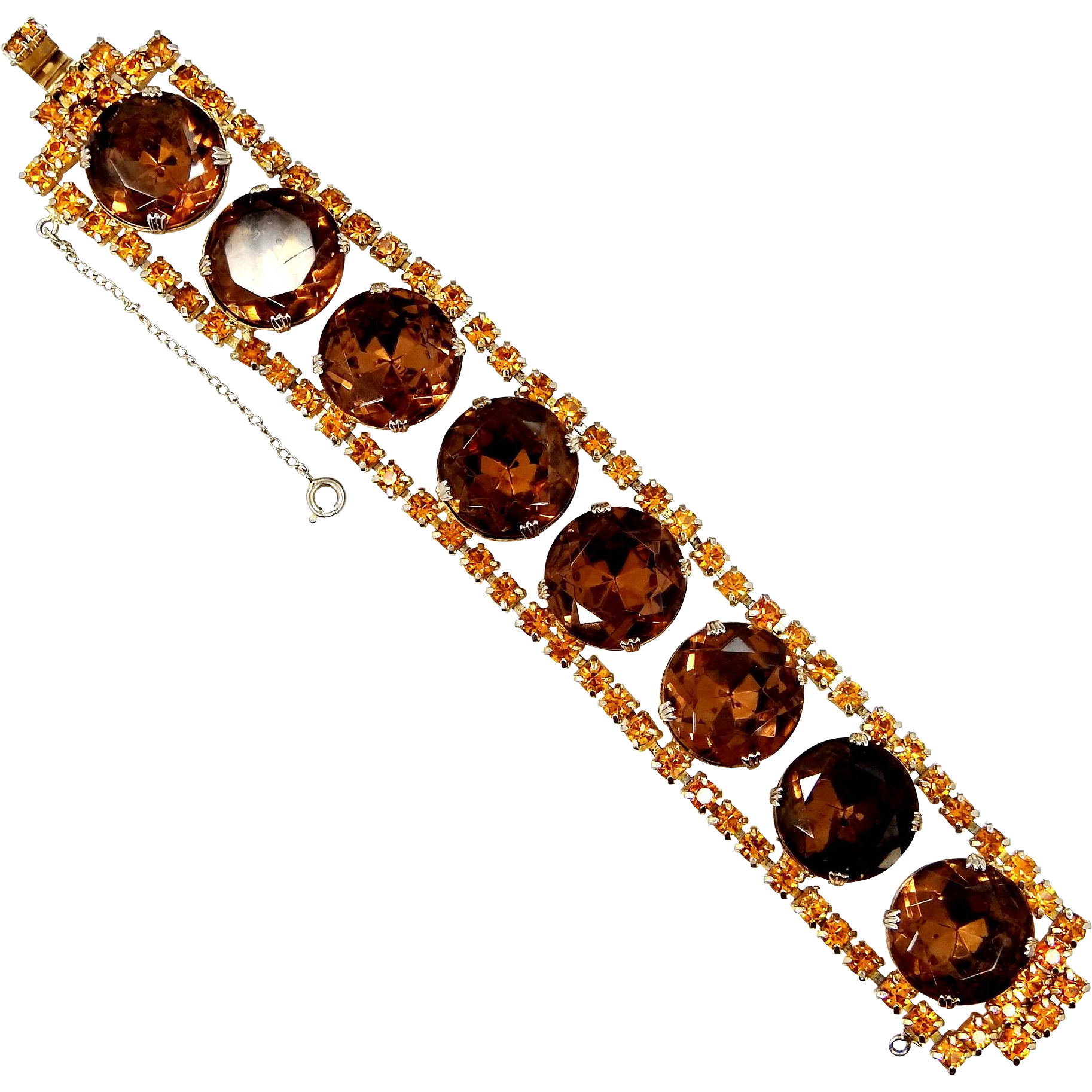 1960s Large and Chunky Topaz Crystals Bracelet
