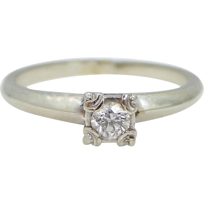 14k White Gold 0.15 Point Diamond Solitaire Ring