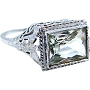 Art Deco 14k White Gold and Peridot Filigree Ring