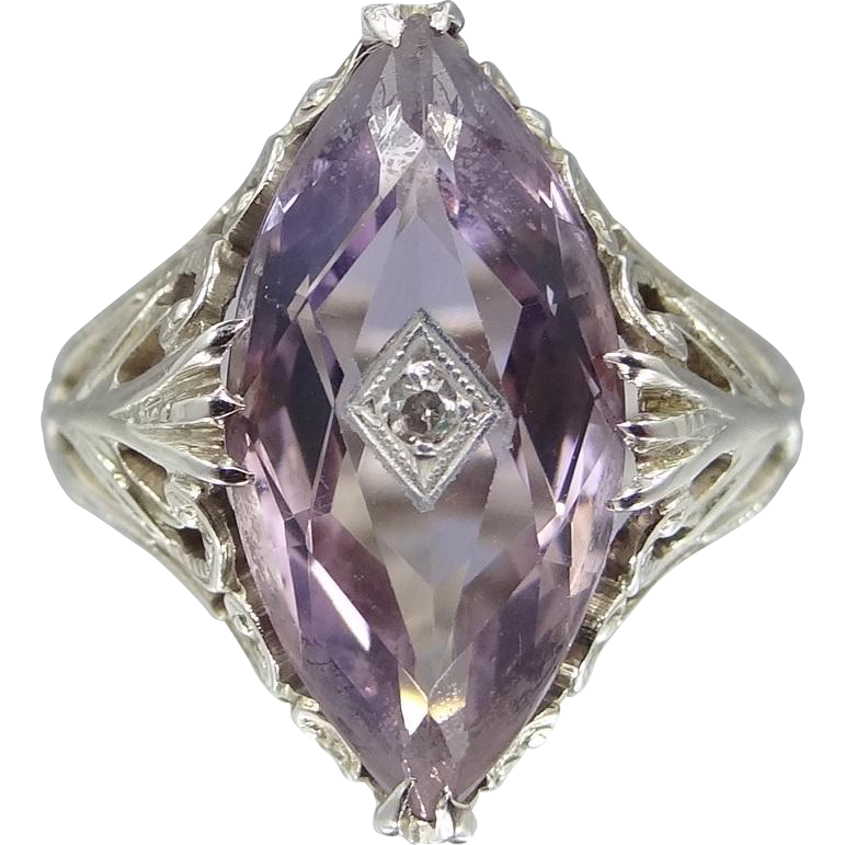 14k White Gold 4 Carat Amethyst Solitaire and Diamond Filigree Art Deco Ring