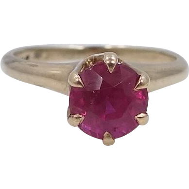 Victorian 10k Gold 1 Carat Synthetic Ruby Ring