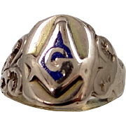 Victorian 10k Gold and Enamel Masonic Ring