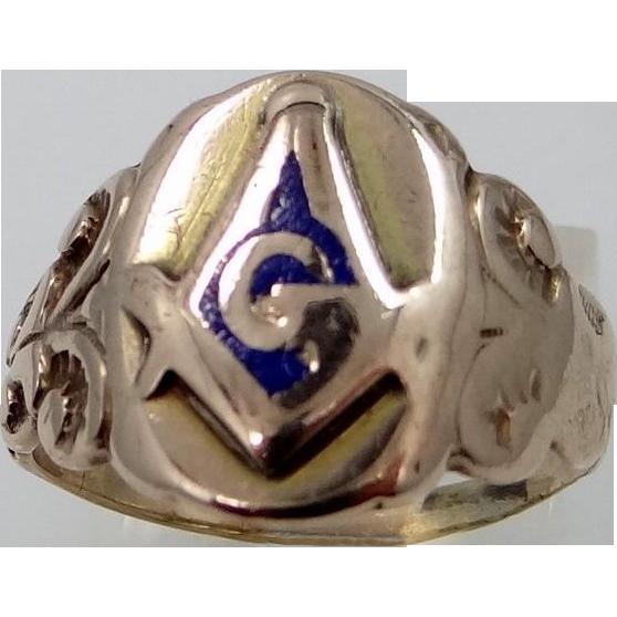 Victorian 10k Gold and Enamel Masonic Ring
