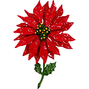 HUGE Red and Green Enamel Christmas Poinsettia Pin