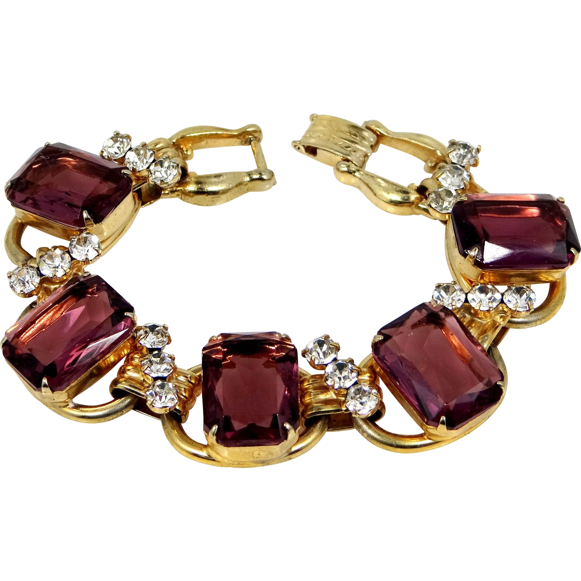 Juliana 5 Ring Large Amethyst Glass Bracelet