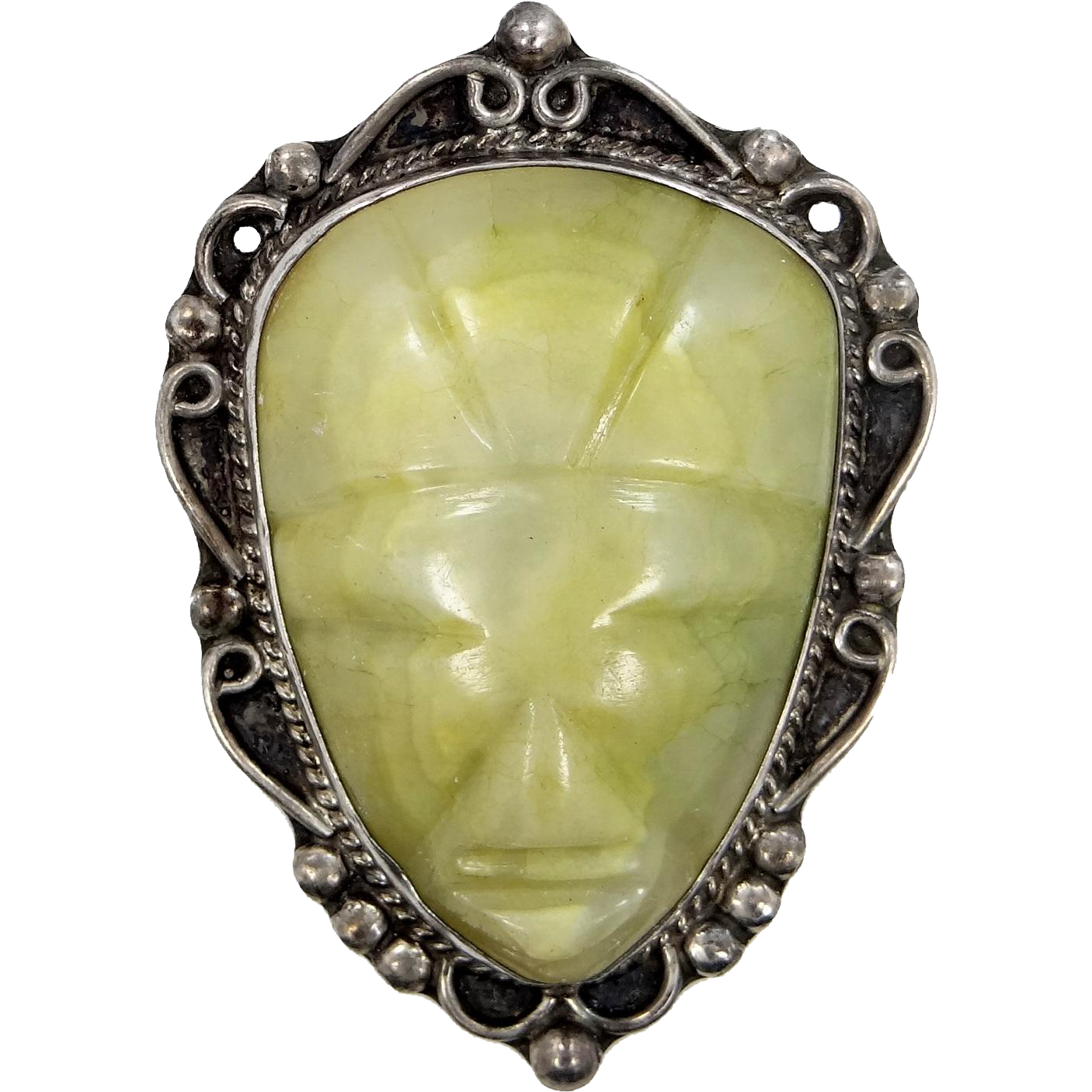 Vintage Sterling Silver Carved Agate Aztec Mask Pin
