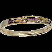 Vintage Gold Filled Amethyst Glass Bangle Bracelet