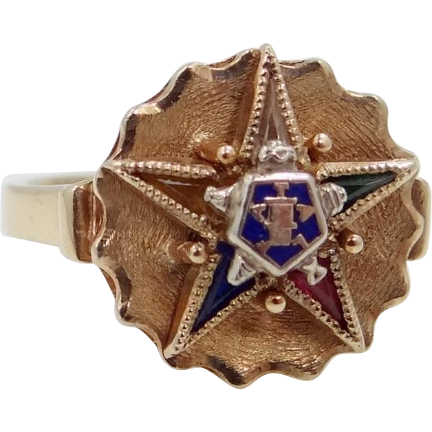 10k Gold and Gemstones Eastern Star Ring