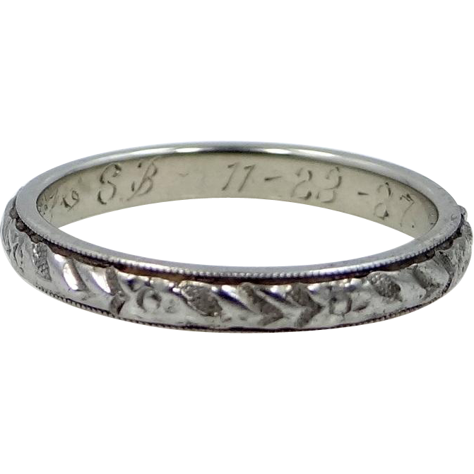 18k White Gold 1927 Stacking Ring or Wedding Band