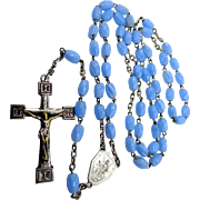 Vintage France Blue Milligrain Glass Rosary