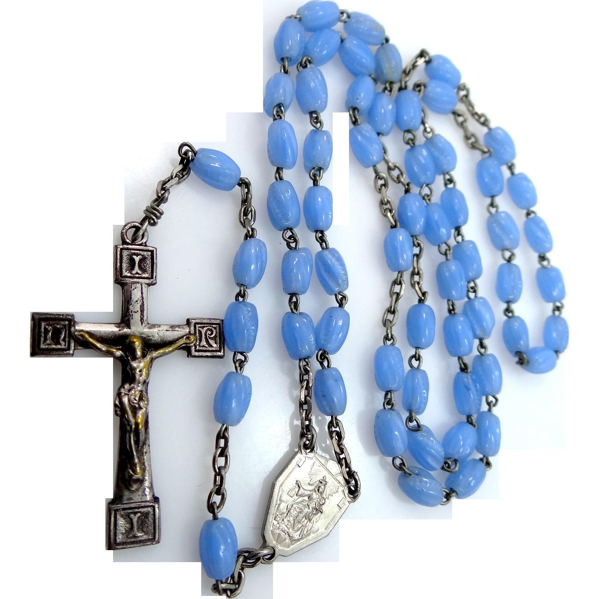 Vintage France Blue Milligrain Glass Rosary