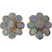 Large 14k Gold Clip On Natural Opal Earrings
