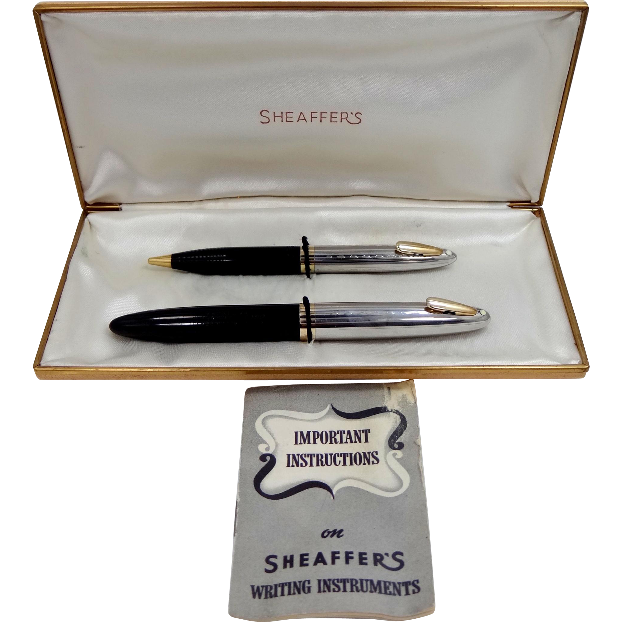 Vintage Sheaffer's White Dot Sentinel Tuckaway DeLuxe Pen Set in Original Box