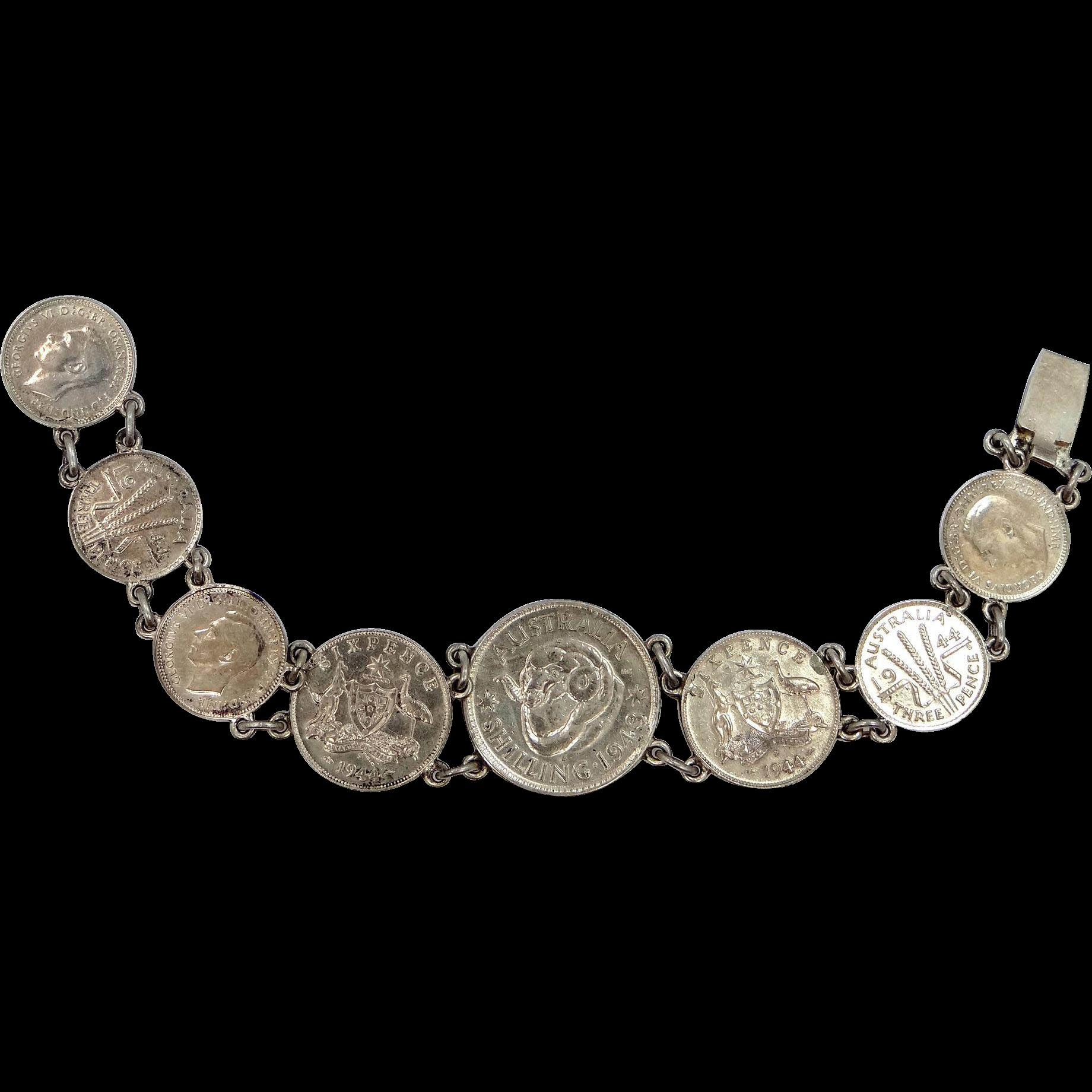 1940s Sterling Silver Australian Coin Bracelet