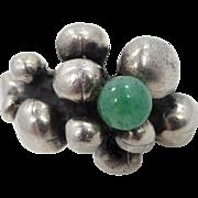 Natural Jade Brutalist Sterling Silver Ring Size 6 1/4