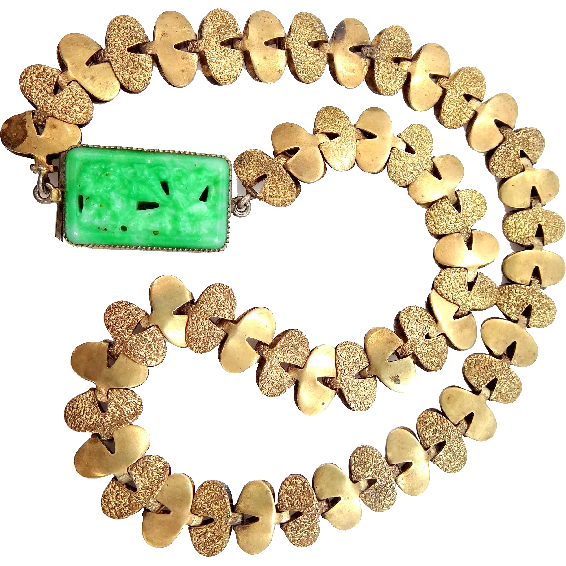 1920s Bookchain Art Glass Faux Jade Necklace Fishel, Nessler Co.