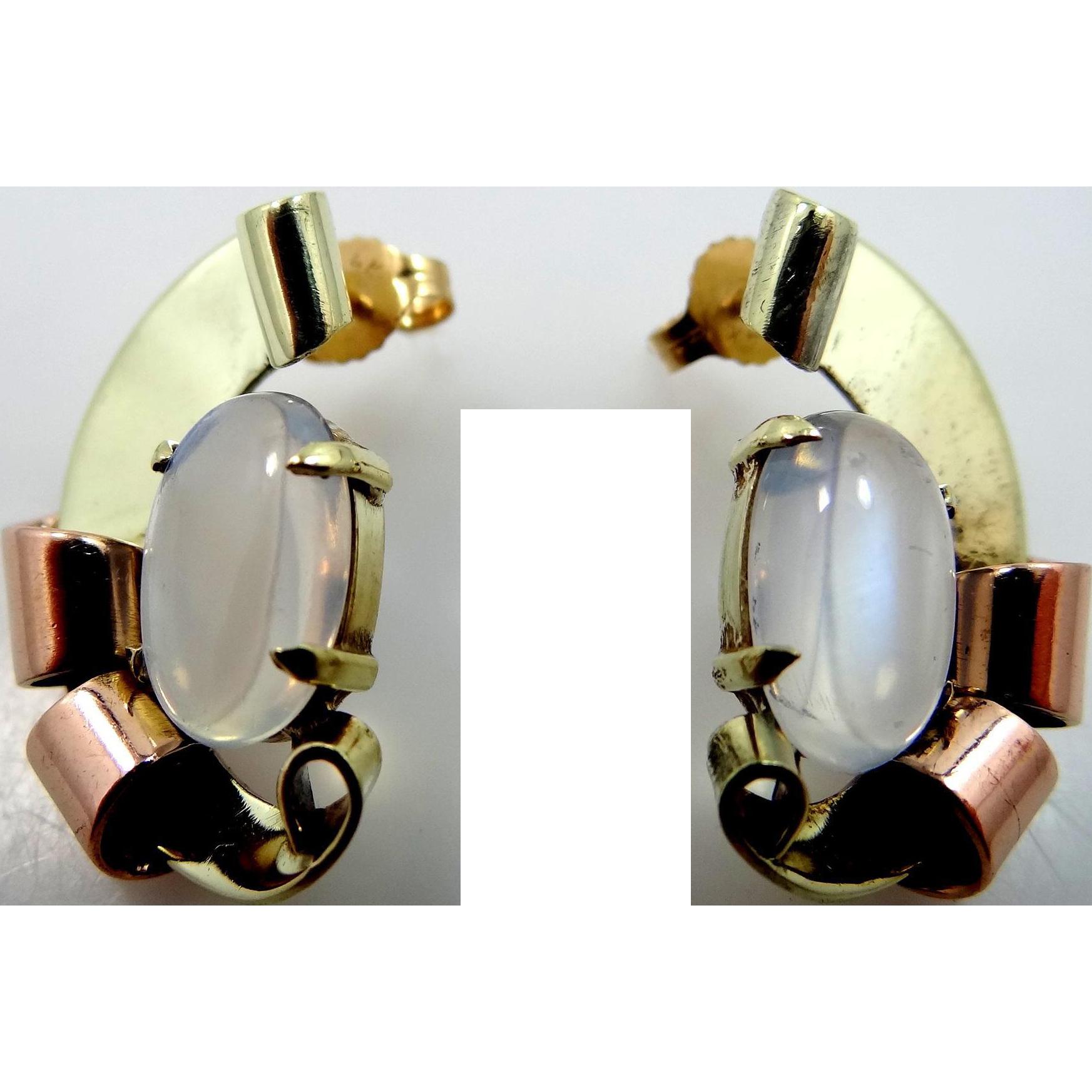 Retro 14k Yellow & Rose Gold Mystical Moonstone Pierced Earrings