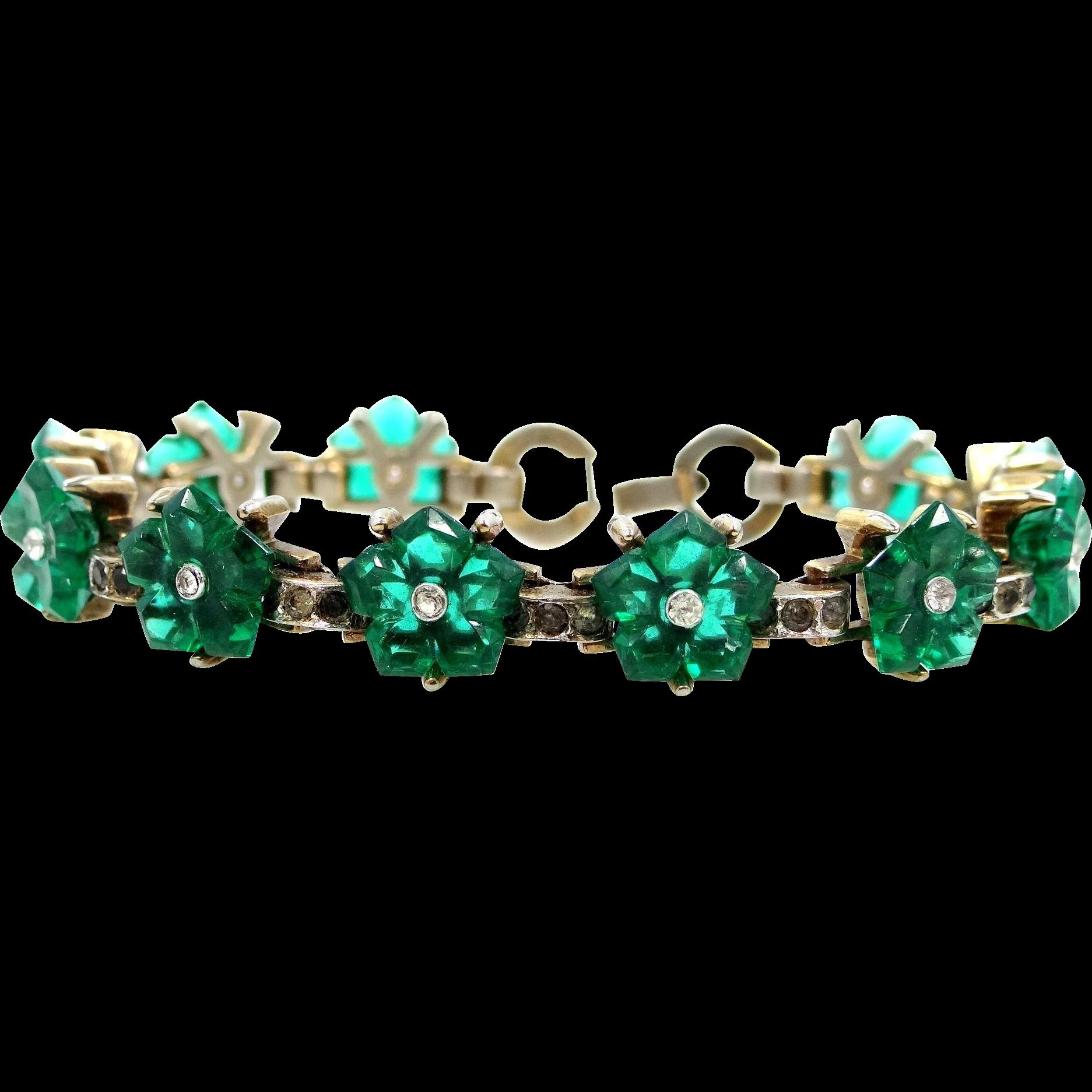 Trifari 'Alfred Philippe' Emerald Glass Flowers Bracelet 1944